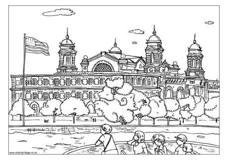 ellis island colouring page