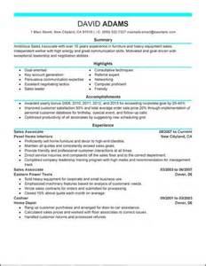 resume of retail sales associate retail sales associate resume resume format