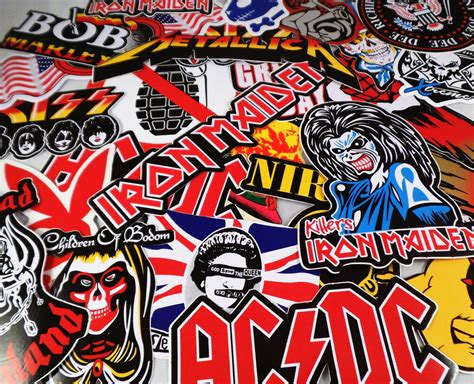 lot 10 large band stickers decals rock metal