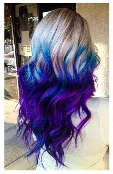 Purple Blue Ombre Dyed Hair Cool Colored Hair Dyed