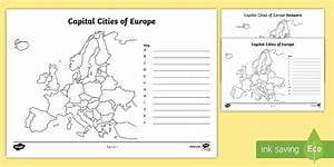 The Countries And Capital Cities Of Europe Worksheet