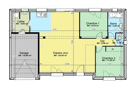 plan maison 2 chambres plan et photos maison 2 chambres de 76 m