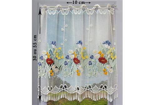 macrame rideau cuisine petit rideau cantonnière macramé motif fleuri petit
