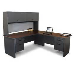l shaped espresso full bull nose corner desk with gray