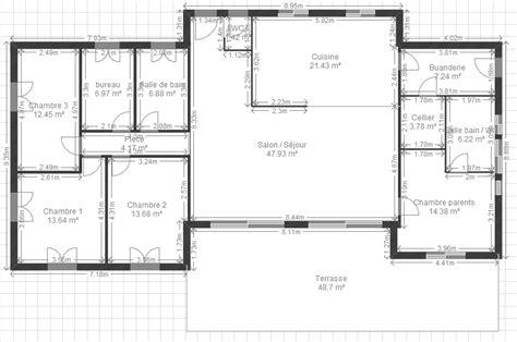 plan maison plain pied 3 chambres 1 bureau plan maison plain pied 3 chambres 1 bureau plan maison 4