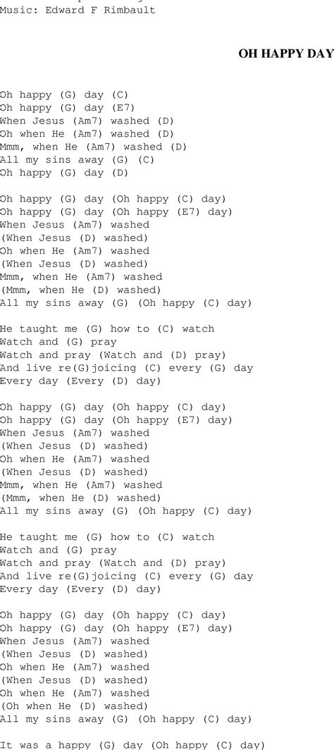 Testo Oh by Oh Happy Day Christian Gospel Song Lyrics And Chords