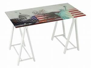 Mesa de escritorio USA con patas blancas de caballete