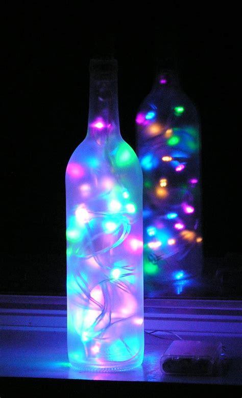 Frosted Wine Bottle Light With Multi Colored Pastel Led