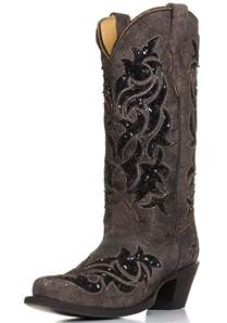 womens corral boots size 11 corral womens sequin inlay snip toe cowboy boots brown black