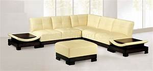 light beige modern leather sectional sofa w built in side With sectional sofa side tables