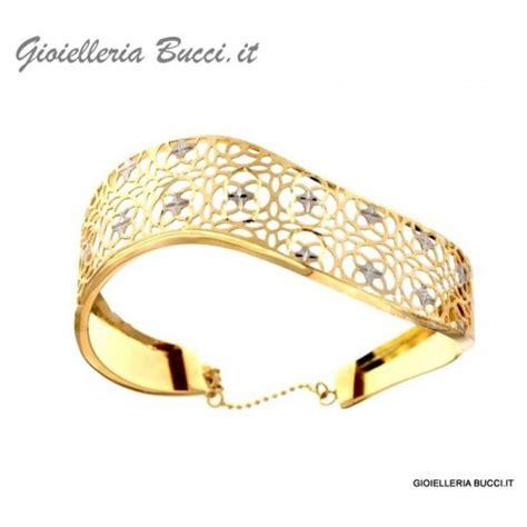 bracciale rigido da donna in oro giallo e bianco 18 kt con chiusura