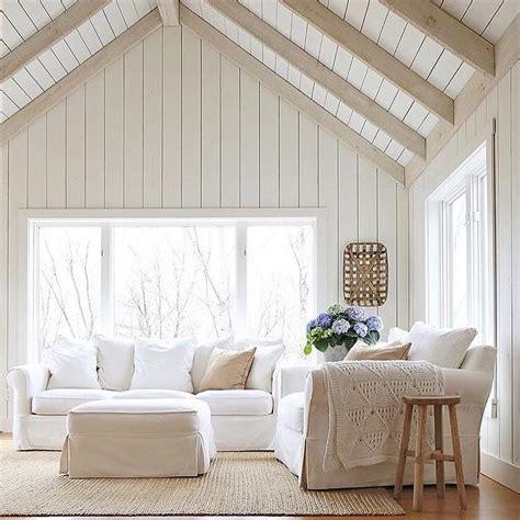 white wood paneling cottage living room