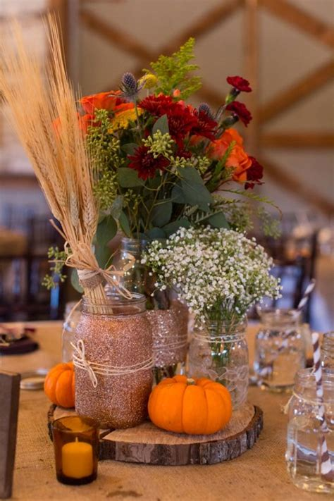 fall centerpieces with jars chad and brandi planned a beautifully diy ed fall wedding jars wedding and glitter