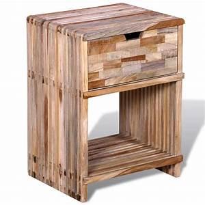 Nachttisch Mit Schublade : nachttisch mit schublade wiederverwendetes teakholz ~ Frokenaadalensverden.com Haus und Dekorationen