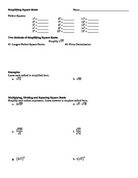 simplifying square roots worksheet with puzzle by leffler s math class