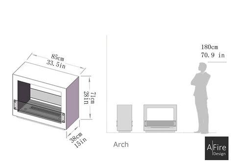 dimensioni di un camino caminetto centrale bifacciale ecologico e di design arch