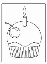 Cupcakes Coloring Pages Cupcake Icolor Holidays Sprinkles Happy sketch template