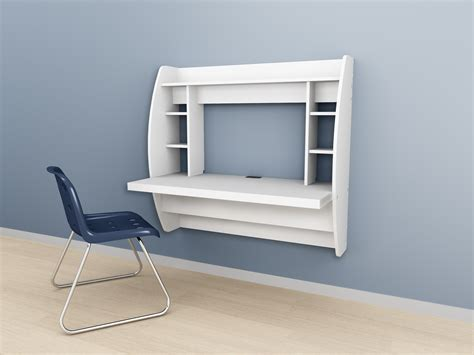 Wall Mounted Prepac Floating Storage Desk White Black
