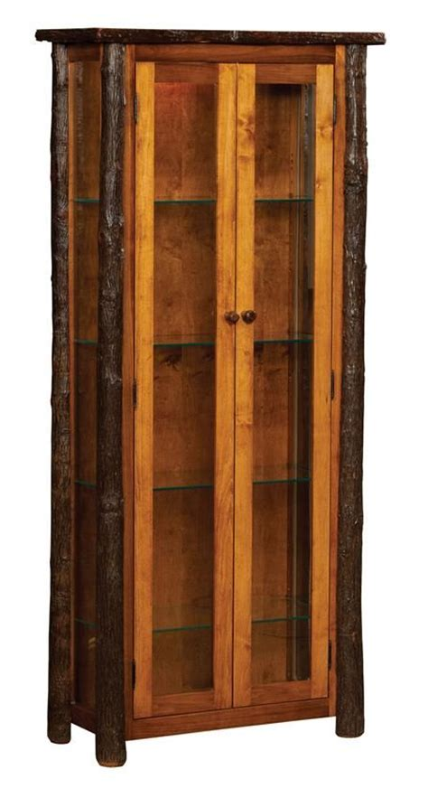 vintage bookcases for amish rustic hickory curio cabinet with doors 6780