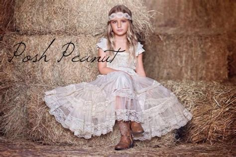 lace rustic flower girl dress champagne lace dresses