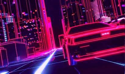 Neon Retro Synthwave Wave 1980s Delorean Wallpapers
