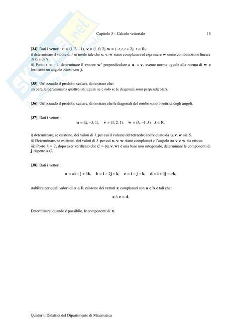 Dispense Algebra Lineare by Esercizi Di Algebra Lineare Abbena Dispense