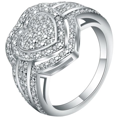 exquisite full white crystal lord of heart ring jewelry meaning love forever women s wedding