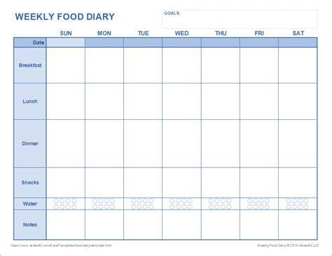 food diary template printable food journal