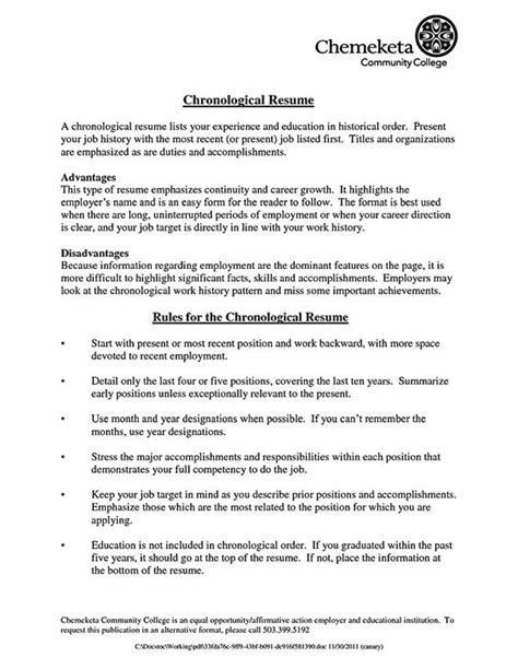 chronological resume template chronological resume is one