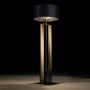 Gold contemporary designer floor lamp for Contemporary floor lighting