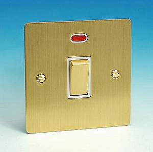 20 Amp DP Switch Neon Brushed Brass
