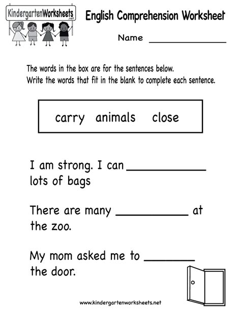 comprehension worksheets kindergarten kindergarten comprehension worksheet printable