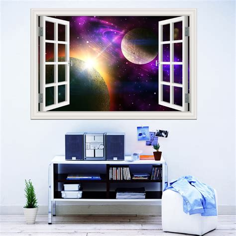 home wall decor stickers 3d window view planet galaxy wall sticker removable outer