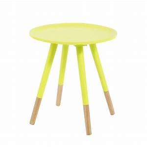 Table Maison Du Monde Bois : table basse vintage en bois jaune fluo l 40 cm dekale ~ Premium-room.com Idées de Décoration