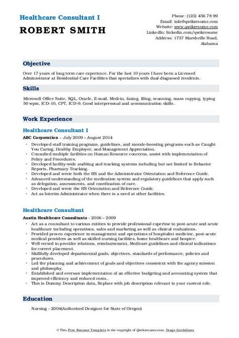 For health insurance consultant jobs in the chicago, il area: Healthcare Consultant Resume Samples | QwikResume