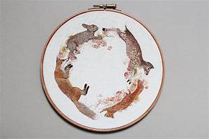 Embroidered mushrooms animals and other forest creatures for Emillie ferris embroidery