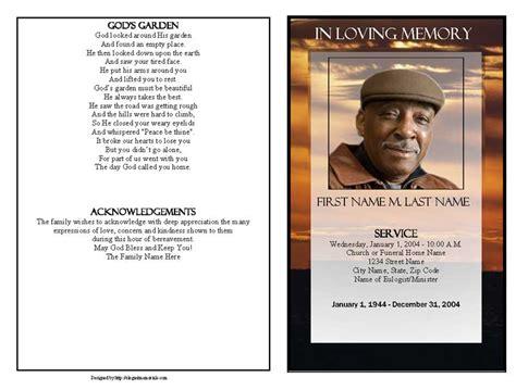 brown sunset funeral program template graduated fold
