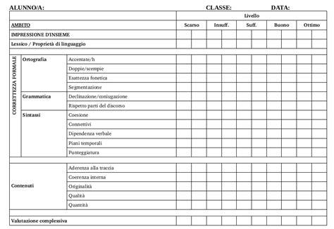 Prove D Ingresso Liceo Classico - griglia di valutazione dei temi scuole medie e biennio