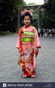 Young, Japanese, Girl, In, Kimono, Attending, Ceremony, At, Meiji, Jingu, Stock, Photo, 15560693