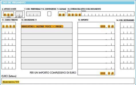 F23 Codice Ufficio O Ente - modello f23 compilabile registrazione contratto di comodato