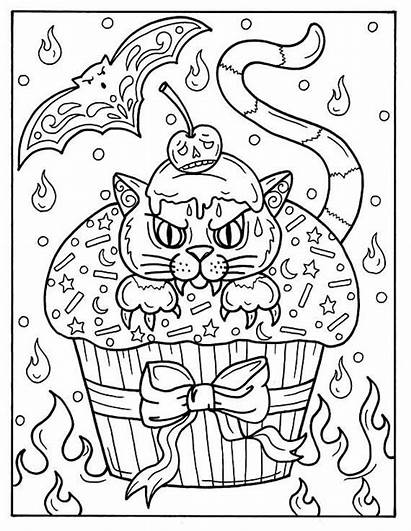 Coloring Pages Halloween Adult Cupcakes Cat Instant