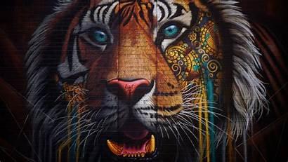 Graffiti Tiger Street Colorful Wall 4k Background