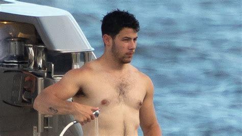 nick jonas shirtless   yacht   internets