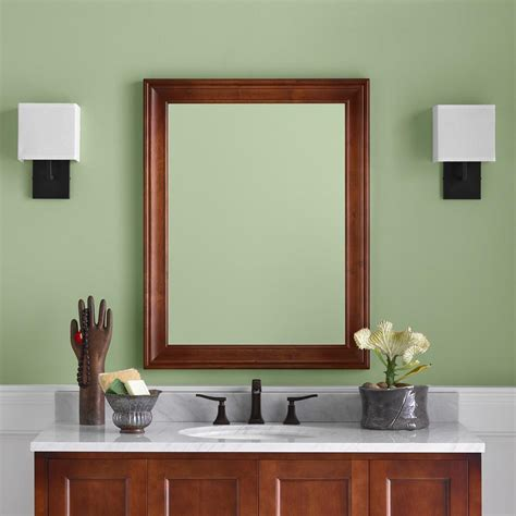 Wood Frame Mirror For Bathroom by 27 Quot William Traditional Solid Wood Framed Bathroom Mirror
