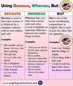 Using Because  Whereas  But In English  Conjunctions And