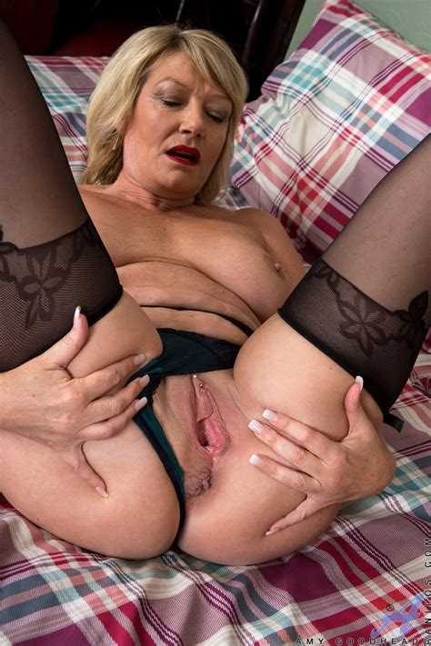 Old Mature Slut Amy Goodhead Masturbating Her Wet Cunt In Stockings On Her Bed