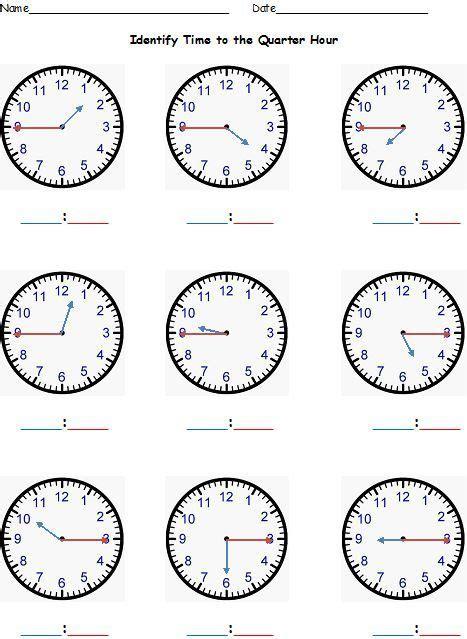 telling time to the nearest hour half hour quarter hour