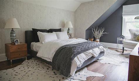 Gray Faux Bois Wallpaper   Transitional   Bedroom