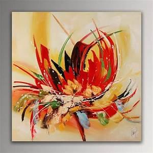 Tableau Fleurs Moderne : fleur abstrait tableau moderne peint la main sur toile ~ Teatrodelosmanantiales.com Idées de Décoration
