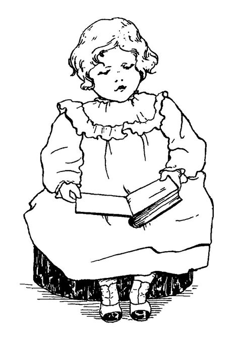 Digital Stamp Design: Stock Girl Reading Book Digital